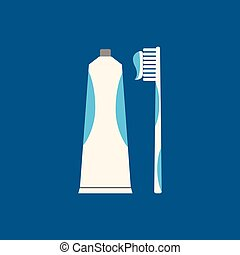 Tooth brush flat icon on blue background. Vector illustration.