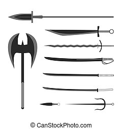 Medieval weapons set. Flat style equipment. Isolated weapons and tools. Vector illustration.