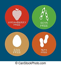 Set of food labels - allergens, GMO free products. Food intolerance symbols collection. Vector illustration.