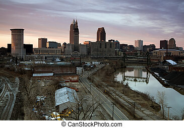 Sunset in downtown Cleveland, Ohio.