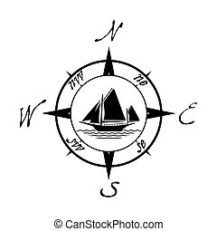 Flat yacht icon with compass. Boat logo with water on white...