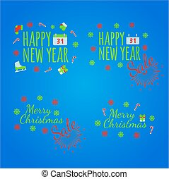 Happy New Year banner and giftcard. Xmas poster and New Year sign on blue background. Vector Illustration.