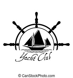 Flat Yacht Club logo icon with helm. Boat logo with water on...