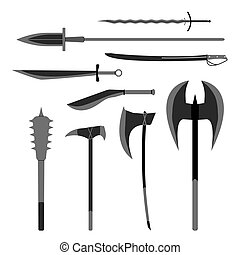 Medieval weapons vector set. Flat style equipment. Isolated...