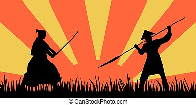 Japanese Samurai Warriors Silhouette with katana sword on Orange Sun background. Vector illustration.