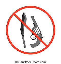 No Gun and Knife Sign and Symbol. Weapon prohibited icon. Vector illustration.