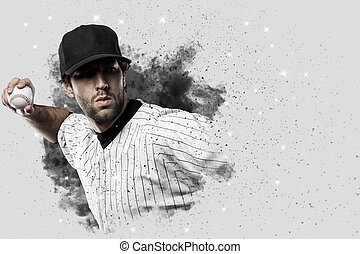 Baseball Player with a white uniform coming out of a blast...