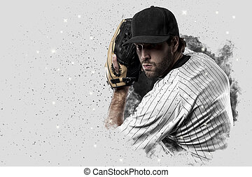 Pitcher Baseball Player with a white uniform coming out of a...