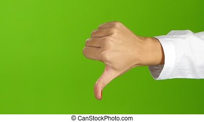 Woman hand, sign language. Thumb down and then thumb up -...