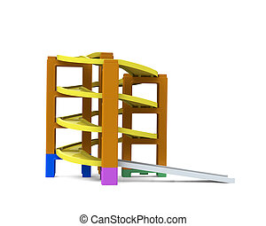 Spiral track in stacking blocks, 3D illustration - Spiral...