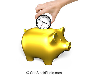 Time is money concept. - Hand putting the clock into golden...