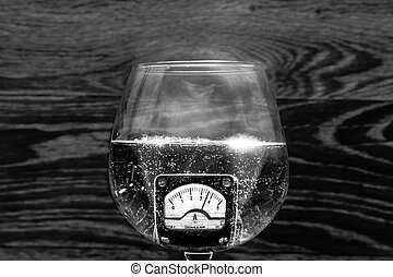 Amperage - Ammeter hight water glass black white bubble ussr