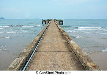 cement pier in Chumphon - Summer, Travel, Vacation and...