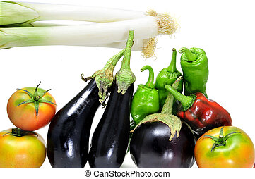 vegetables - leeks, eggplants, tomatoes, red and green...