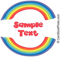 Sample text with rainbow background illustration