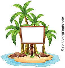 White board on island illustration