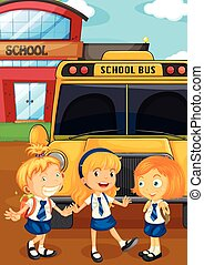 Three students in uniform by the schoolbus illustration