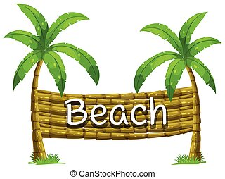 Font design for beach on coconut tree illustration