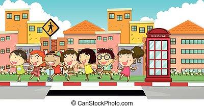 Many children on the sidewalk illustration