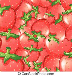 Seamless design with red strawberries