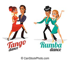 Vector cartoon of a couples dancing tango and rumba