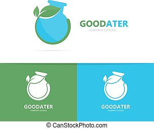 Vector of a flask and leaf logo combination. Laboratory and...