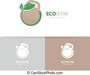 Vector of a weight and leaf logo combination. Sport and eco...