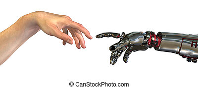 Reinventing Ourselves - Human and robot hands almost...