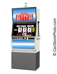 Casino Slot Machine - 3D render of a casino slot machine,...