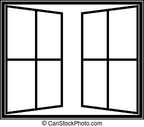 open window icon - Window linear icon - vector symbol or...