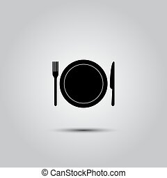kitchen icon vector - kitchen icon of dish, fork and knife