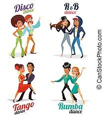 Vector cartoon of a couples dancing tango, rumba, disco and hip hop