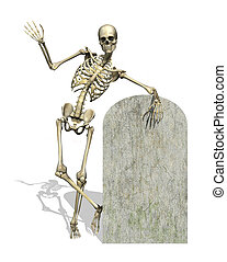 Skeleton with Blank Gravestone - A friendly skeleton leans...