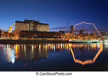 Buenos Aires night view. (HDR) - Puerto Madero neighbourhood...