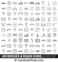 100 bridges and roads icons set, outline style - 100 bridges...