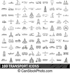 100 transport icons set, outline style - 100 transport icons...