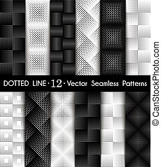 Set Dotted Line Seamless Patterns - Set Dotted Line...