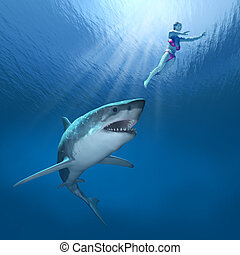 Shark Attack - A great white shark closes in on an...