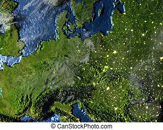 Eastern Europe on Earth at night - visible ocean floor -...