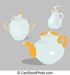 Tea set - Tea dishes set.Vector illustration