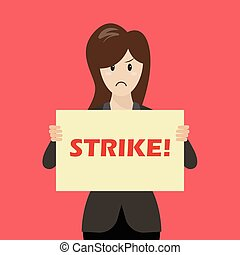 Business woman showing strike banner