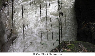 river running water stream flow with small rift over the...