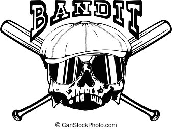 bandit 5 - Vector illustration skull in cap with sunglasses...