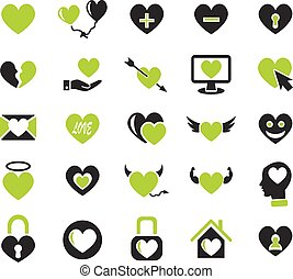 heart love icon set - heart love web icons for user...