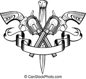 revolvers - Vector illustration crossed revolvers and knife....