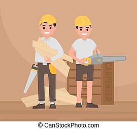 Two happy carpenters stand with tools. Vector foreman,...
