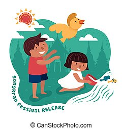 songkran festival illustration with kids releasing animals...