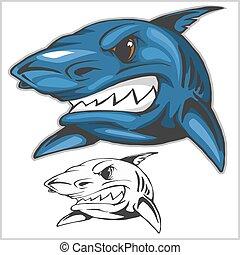 Cartoon shark mascot. Vector illustration - Cartoon shark...