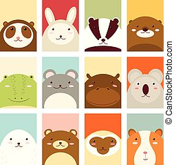 Set of banners with cute animals