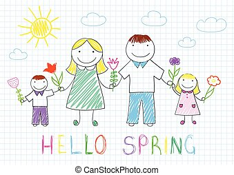 Happy family - mother, father, son, daughter - Hello spring....
